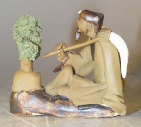 Bonsai Boys Ceramic Figurine (Bonsai Boy's Ceramic Figurine: Man with Bonsai Tree Holding a Brush)