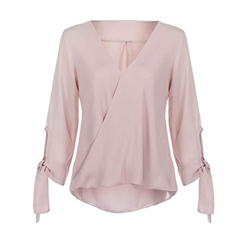 In Nero Scollo Donna Chiffon Per shirt Tinta Rossa Maniche Da Blu Le Taglia M Camicia Selvaggia Donne Rosa Camicetta Rosa V Unita colore T A Lunghe wI6ftIyKzq