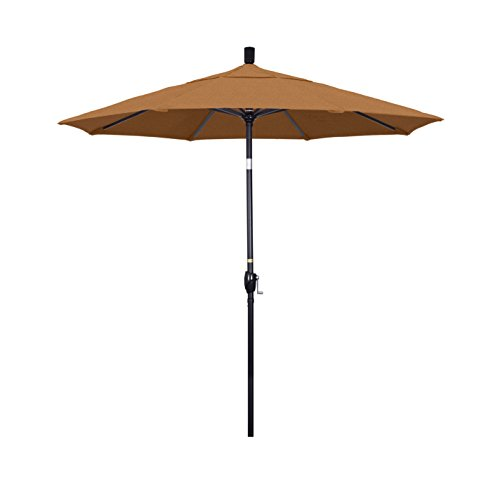 California Umbrella 7.5' Round Aluminum Market Umbrella, Crank Lift, Push Button Tilt, Black Pole, Sunbrella Teak