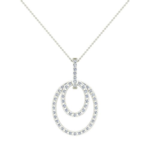 0.68 ct Entwined Circles Dangling Diamond Pendant 14K White Gold (P0203)