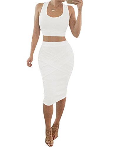 Bodycon Midi Outfit Womens Top Bess Pieces White Two Bandage Sexy Dresses Bridal Crop qHBqOz