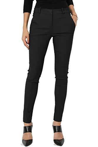 TheMogan Women's Versatile Mid Rise Slant Pocket Ankle Skinny Trousers Black M (Pocket Trouser)