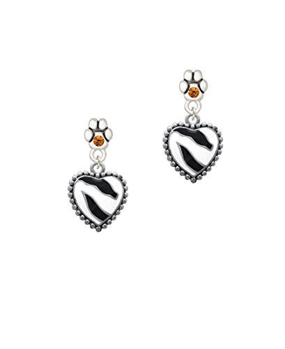 Zebra Print Enamel Ring (Enamel Zebra Print Heart - Yellow Crystal Paw Earrings)