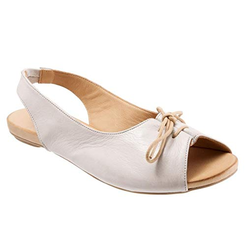 New in Respctful✿Women's Flat Leather Summer Sandals Slip On Flats Ladies Casual Pee Toe Slingback Lace Up Sandals White
