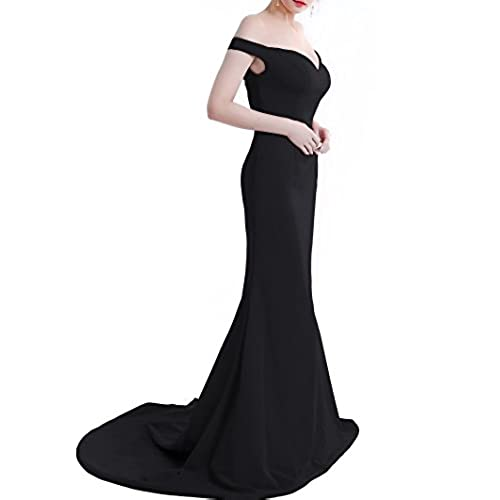 Wemarry Off the Shoulder Mermaid Evening Dress Long for Women Formal Gown Black Size 6