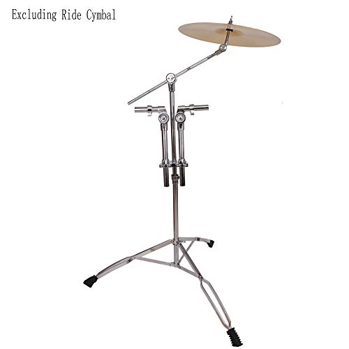 - Kuyal Double Tom Drum Stand with Cymbal Boom Arm Adjustable Double Braced Boom Stand Silver & Black (Double Tom Drum Stand)