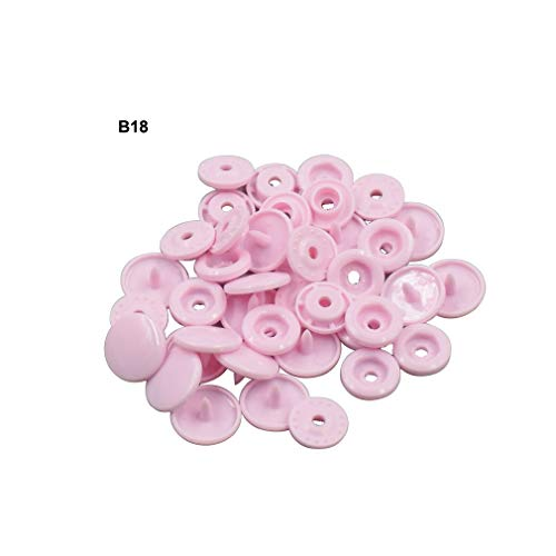 (Light Pink Plastic Snap Button Size 20 200Sets Sew On Plastic Snap Fasteners for Clothing Glossy T5 Round -B18)