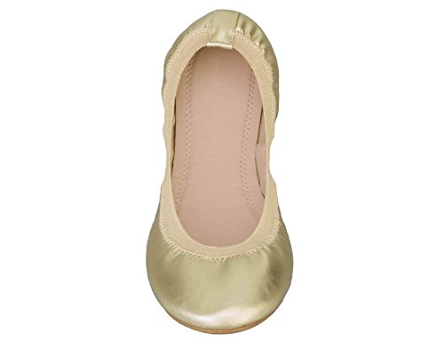 Ballerina Slip Greatonu Comfort Ballet Shoes Flats Gold On Women Walking wZxSHq7X