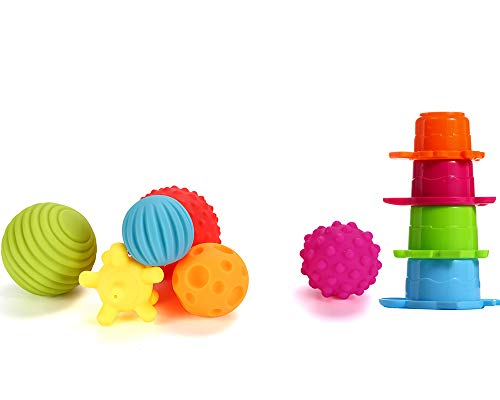 OleOleToy Sensory Balls Kids: Best Textured Multi Ball Set Babies & Toddlers, 6 Colorful Soft & Squeezy Toys Stacking Cups Perfect Stress Relief Toy Kids & Sensory Balls for Toddlers