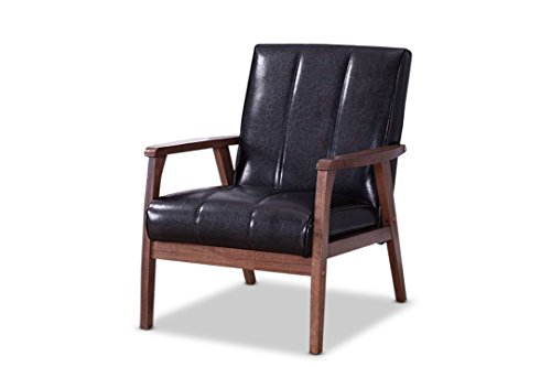 baxton furniture studios nikko mid-century modern scandinavian style faux leather wooden lounge chair, black
