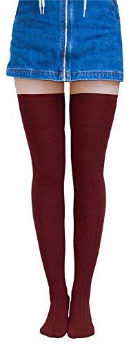Home Improvement Halloween Season 8 (AnVei-Nao Womens Girls Winter Over Knee Leg Warmer Knit Crochet Socks Leggings Wine)