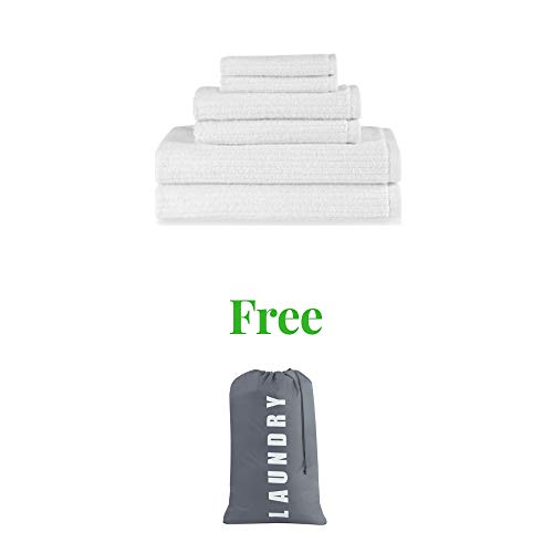 Towels Plus Cotton Hand Towel - Dri-Soft Plus Bath (White, Towel Set)