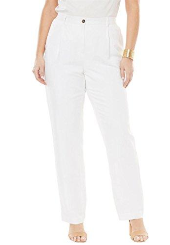 White Linen Blend Pant (Jessica London Women's Plus Size Linen Blend Pants White,20)