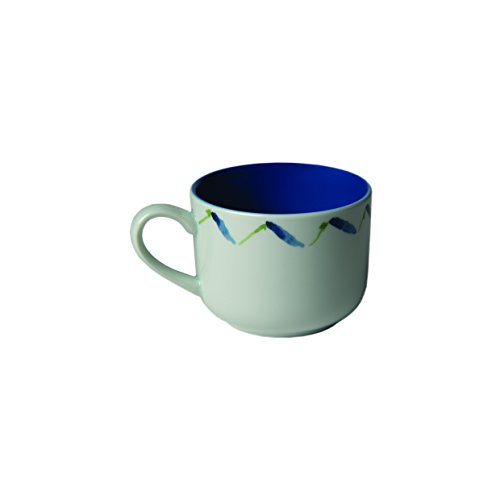 Pillivuyt 512225FDP2 Fleur de Provence Cup with Lavender Wreath and Blue Interior, Medium, White With Blue