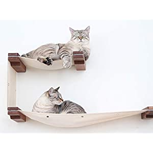 CatastrophiCreations Cat Double Decker Wall Mounted Lounge and Play Furniture Cat Tree Shelves - Onyx/Natural, One Size 9