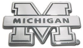 University of Michigan Wolverines NCAA College Chrome Plated Premium Metal Car Truck Motorcycle Emblem by AMG