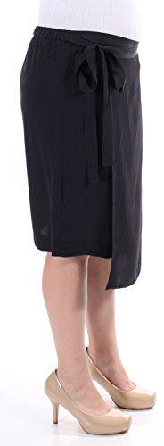 DKNY Pure Women's Faux-Wrap 100% Silk Pull-On Skirt Medium M Black