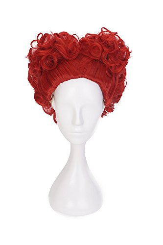 HH Building Cosplay Wig for Queen Of Hearts Alice In Wonderland Short Curly Wine Red Lolita -