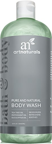 ArtNaturals Essential Bath and Body Wash Tea Tree, Peppermint and Eucalyptus Oil, Natural Eczema Soap for Antifungal Feet, Helps Kill Nail Fungus, Athletes Foot, Ringworm, Jock Itch and Odors, 12oz.