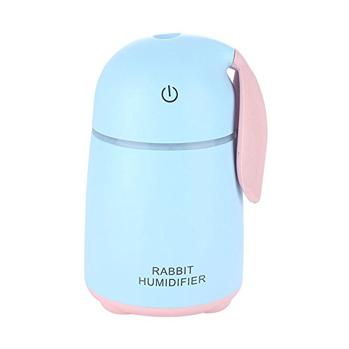 elecfan Ultrasonic Humidifier with LED Night Light, 170ML Cute Rabbit Air Purifier, Fogger, Mini USB Atomizer, Portable Air Moisturizing Dust Eliminating Aroma Diffuser for Home, Car, Office - Blue