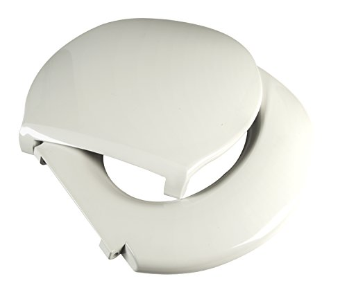 Big John 6-W Oversized Toilet Seat with Cover - For Round Or Elongated Toilet Bowls - Weight Capacity 800 Pounds - White