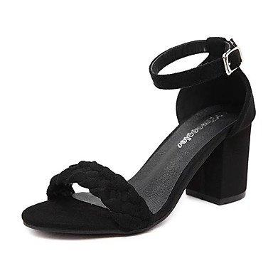 LvYuan Tacón Robusto-Confort-Sandalias-Exterior-PU-Negro Gris Black