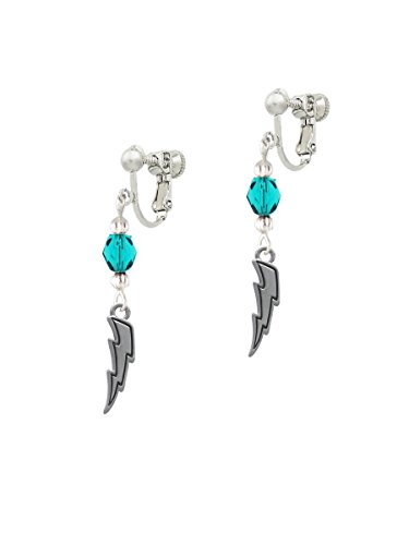 (Silvertone Lightning Bolt Teal Czech Glass Bead Dangle Clip On Earrings )