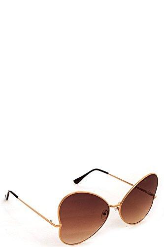 Women's High Fashion Retro Sunglasses Shades Mirrored Lens Frame HEART - Sunglasses Doc Brown
