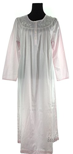 Miss Elaine Embroidered Nightgown (Pink, (Miss Elaine Satin Nightgown)
