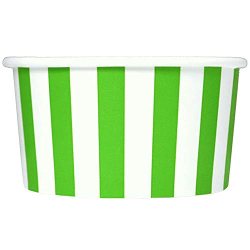 Green Paper Ice Cream Cups - 6 oz Striped Dessert Bowls - Comes In Many Colors & Sizes! Frozen Dessert Supplies - Fast Shipping! 50 Count ()