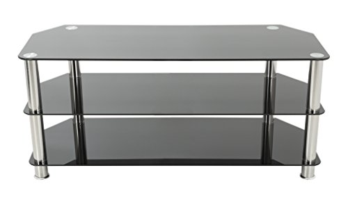 AVF SDC1000-A TV Stand for Up to 50-Inch TVs, Black Glass, Chrome Legs