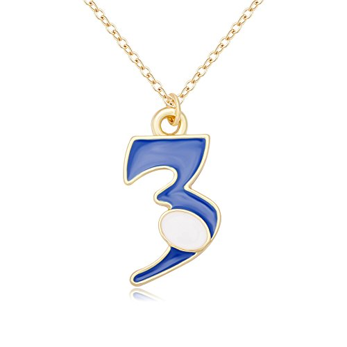 esting Double Color Number 1-9 Character Pendant Necklace (gold-3) (Enamel Number Pendant)