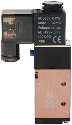 電磁弁 電気ソレノイドバルブ 2ポジション5ウェイ 空気圧バルブ アルミニウム合金製 全6サイズ - 4V210-08 AC380V