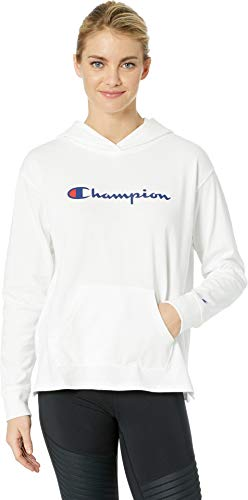 - Champion Women's Heavyweight Jersey Pullover Hoodie, White Large