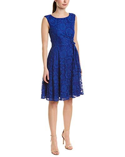 Tahari ASL Women's Sleeveless Side TIE LACE Dress, Royal, 4