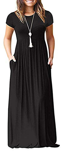 GULE GULE Women's Short Sleeve Loose Plain Maxi Casual Long Dresses with Pockets Black (Dress Short In Black Empire Sleeve)