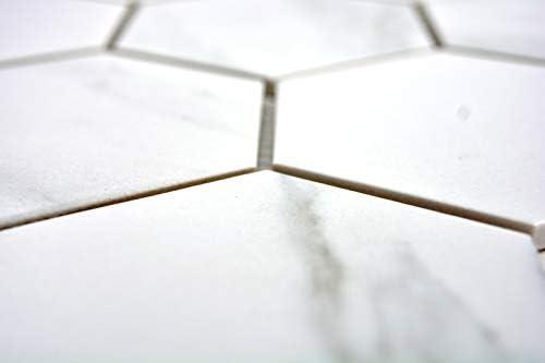 Mosaik Fliese Keramik wei/ß Hexagon Carrara Wandfliesen Badfliese MOS11F-0102/_m
