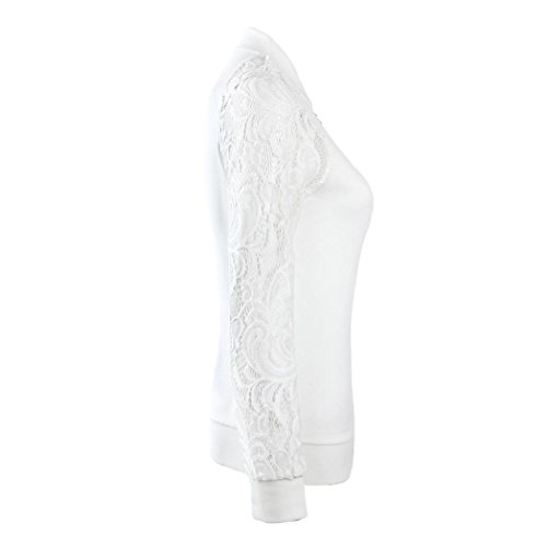 XUANOU Womens Long Sleeve Lace Blazer Suit Casual Jacket Coat Outwear (Large, White) by XUANOU (Image #2)