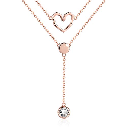 (SIMPLOVE 925 Sterling Silver Double-Decker Love Heart Chain Pendant Necklace for Women Girls 14K Rose Gold Plated 2 Layers Love Inspiration Necklace Jewelry Birthday)