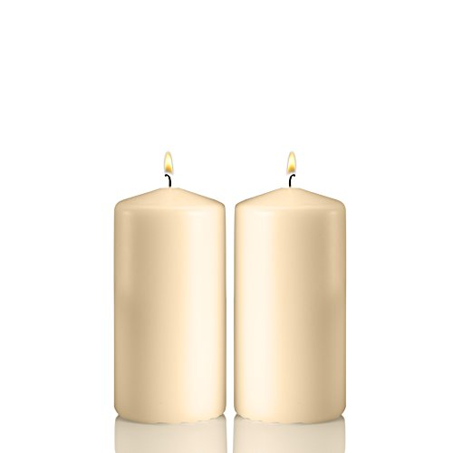 Light In The Dark Ivory Pillar Candles - Set of 2 Unscented Candles - 6 inch Tall, 3 inch Thick - 36 Hour Clean Burn Time