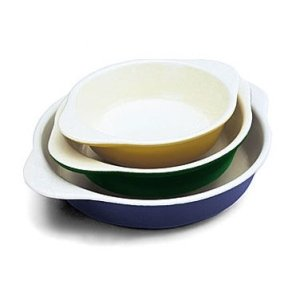 World Cuisine Yellow Enamel Cast-Iron Round Dish, 1/2 Qt. [World Cuisine]