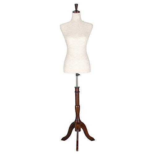 Bonnlo Upgraded Female Dress Form, Mannequin Torse Body with Adjustable Rubber Wood Stand for Dress Jewelry Display (2-4)