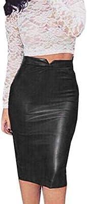 Fuxitoggo Mujer PU Falda de Cuero Cintura Alta Slim Bodycon Falda ...