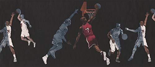 IN2662B Basketball Players Black Sports 15' x 10.5