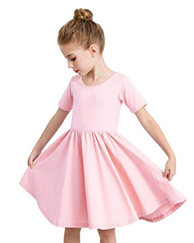 STELLE Toddler/Girls Short Sleeve Casual A-Line Dress for School Party (Pink, Size 5)