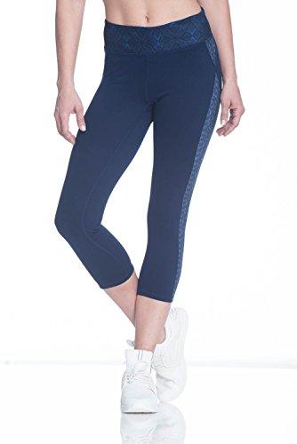 Gaiam Women's Om Capri Yoga Pants - Performance Spandex Compression Legging - Maritime Blue, Small