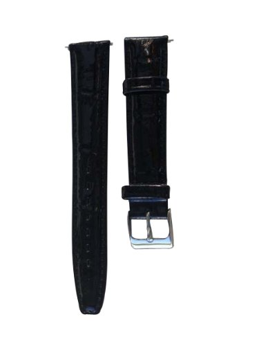 18mm Finely Padded Shiny Black Genuine Leather