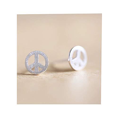 RUIZHEN Silver Peace Sigh Symbol Stud Earrings -