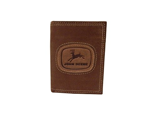 John Deere Distressed Leather Tri-Fold Wallet