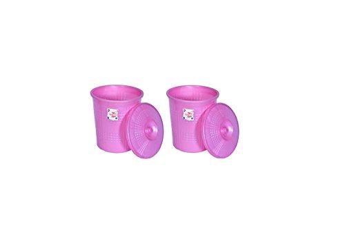 Logic Plain Dustbin with Lid -Pink – 2 Piece